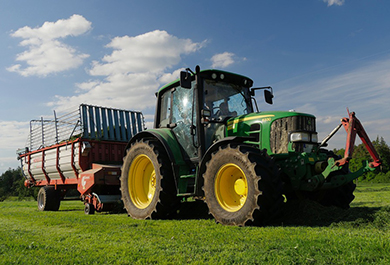 Green Tractor On Field