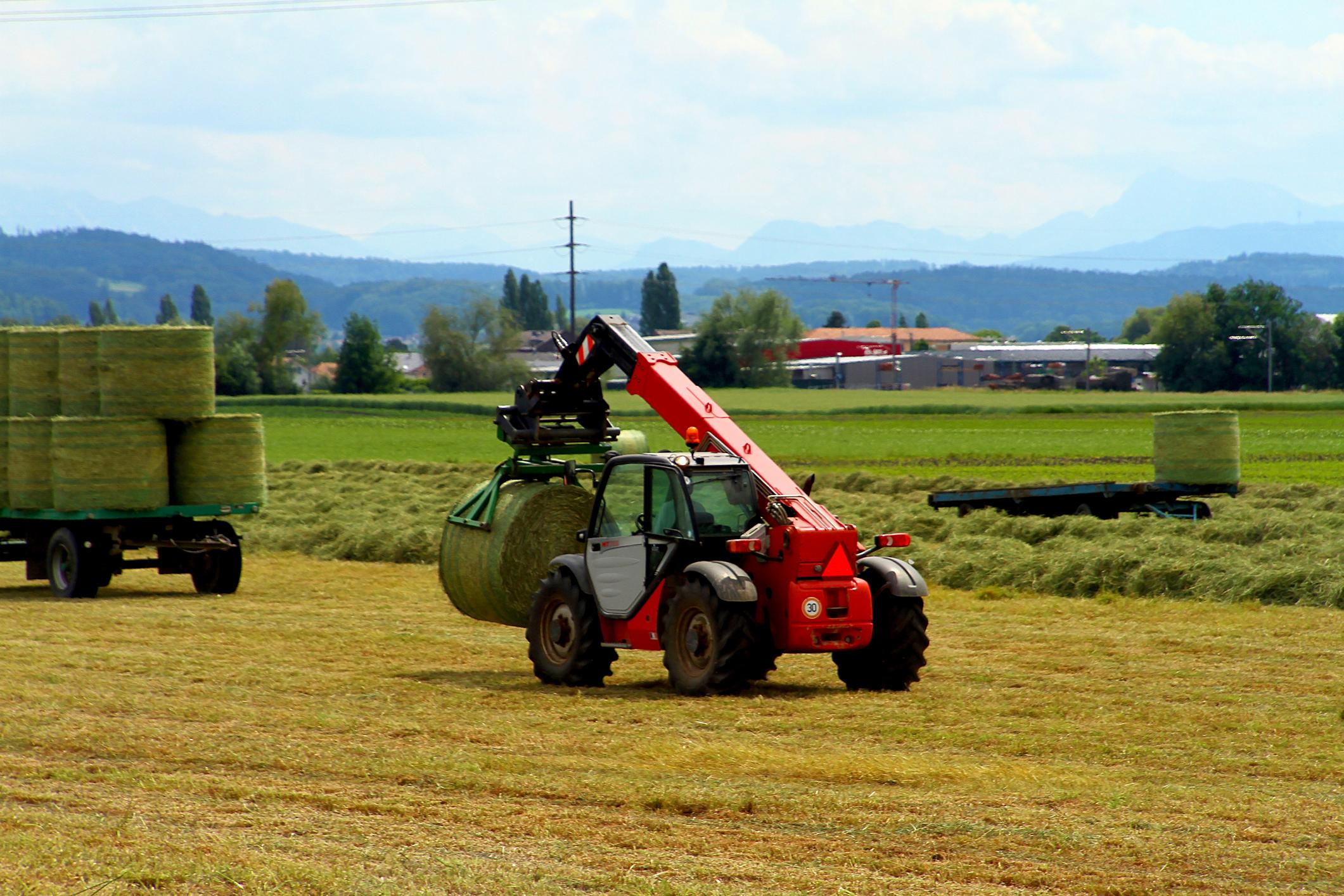 Telehandler with Hay Bales