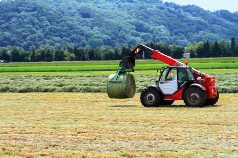 Telehandler with Hay Bale